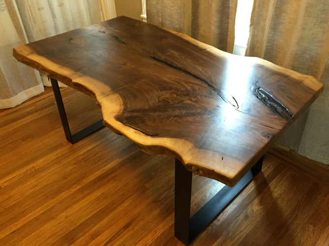 Exceptionnel Live Edge Black Walnut Slab Dining Table. Black Industrial Steel U Shaped  Legs Underneath. 150 Year Old Solid Single Slab Black Walnut Slab Loaded  With ...